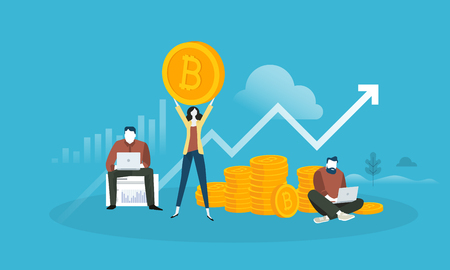 Bitcoin market analysis. Flat design style web banner of blockchain technology, bitcoin, altcoins, cryptocurrency mining, finance, digital money market, cryptocoin wallet, crypto exchange.