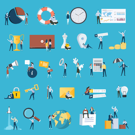 Set of flat design style people icons. Vector illustration concepts for business, strategy, analysis, planning, time management, marketing, startup, business communication, finance, security.