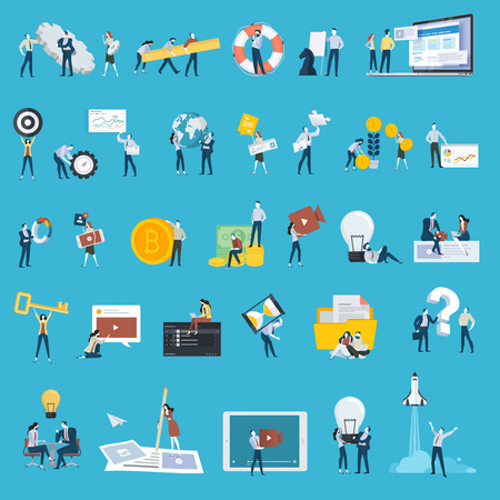 Set of flat design style people icons. Vector illustration concepts for web design and development, app development, SEO, startup, business plan, content manager, video marketing, finance