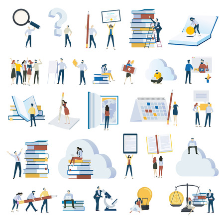 Flat design people concept icons isolated on white. Set of vector illustrations for education, e-learning, online training and course, education app and cloud, investments in education, science, ebook Illustration