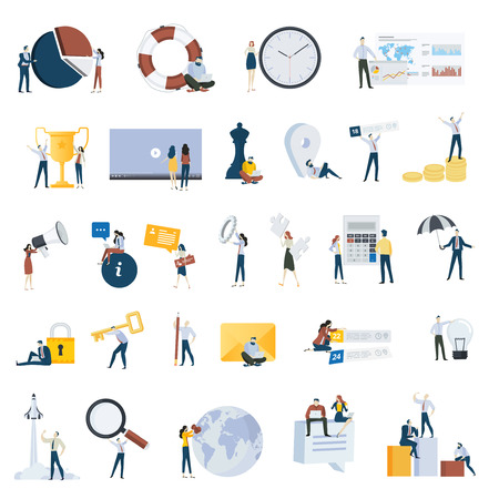 Flat design people concept icons isolated on white. Set of vector illustrations for business, marketing, startup. Illustration