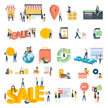 Flat design people concept icons isolated on white. Set of vector illustrations for shopping, e-commerce, online payment.