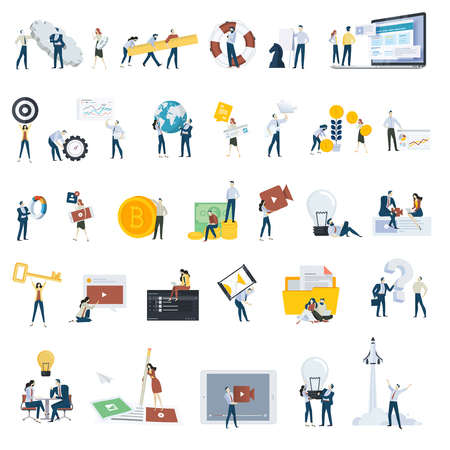 Flat design people concept icons isolated on white. Set of vector illustrations for web and app design and development, seo, social media. Stock Vector - 96279411