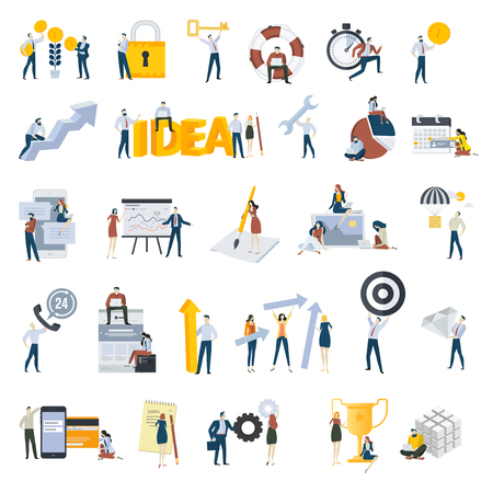 Set of flat design style people icons. Vector illustration concepts for business, big idea, teamwork, technical support, e-banking, investment, management, planning, social media, securuty, success. Illustration