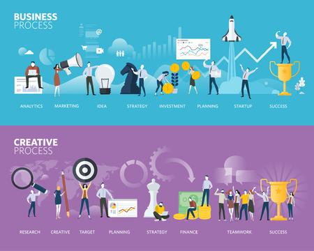 Bannières web de style design plat de processus métier et processus créatif. Concepts d'illustration vectorielle pour plan d'affaires, démarrage, processus de conception, développement de produits, créativité et innovation.