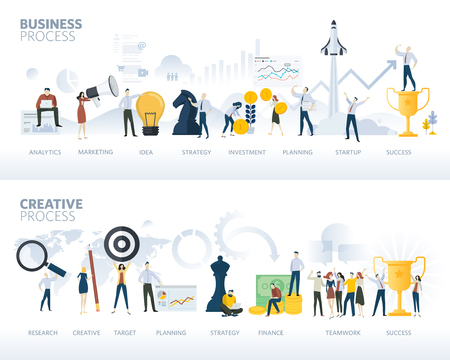 Set of flat design web banners of business process and creative process, isolated on white. Vector illustration concepts for business plan, startup, design process, creativity and product development.