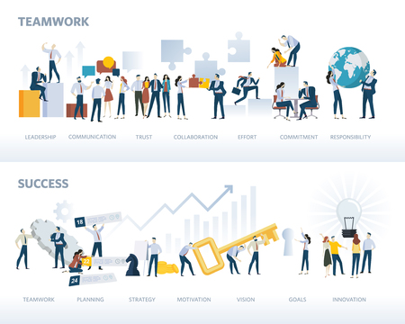 Set of flat design web banners of teamwork and success, isolated on white. Vector illustration concepts for business workflow and success, project management, team building.