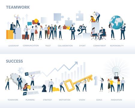 Conjunto de banners web de diseño plano de trabajo en equipo y éxito, aislado en blanco. Conceptos de ilustración vectorial para el flujo de trabajo empresarial y el éxito, gestión de proyectos, trabajo en equipo. Ilustración de vector