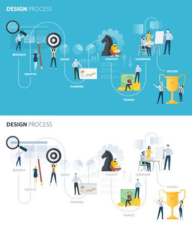 Flat design style web banners of design process set