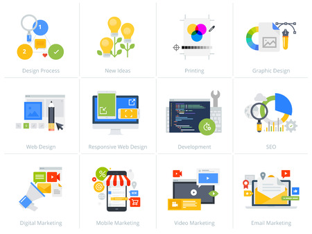Set of flat design style concept icons isolated on white. Vector illustrations for web design and development, SEO, responsive web design, graphic design and creative process, internet marketing. Illustration