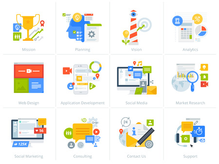 Set of flat design style concept icons isolated on white.