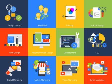 Flat design concept icons. Vector illustrations for web design and development, SEO, responsive web design, graphic design and creative process, internet marketing.