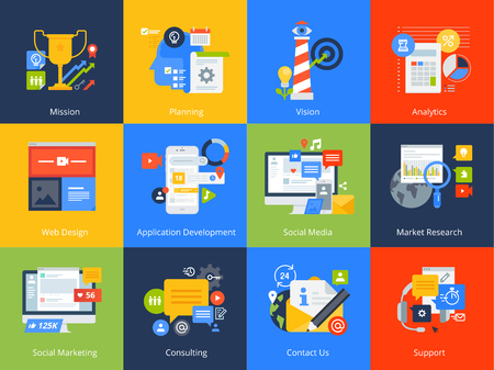 Flat design concept icons. Vector illustrations for business, management, consulting, communication, marketing, market research, app and web development, social media.