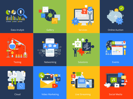 Flat design concept icons. Vector illustrations for business solutions and events, networking, cloud computing, data analyst, live streaming and video marketing.