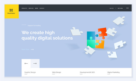 Website template design. Modern vector illustration concept of web page design for website and mobile website development. Easy to edit and customize. Иллюстрация
