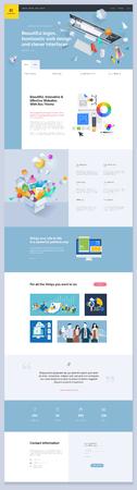 1 ページの Web サイト テンプレートデザイン。ウェブサイトやモバイルWebサイト開発のためのウェブページデザインのベクターイラストコンセプト。