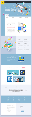 One page website template design. Vector illustration concept of web page design for website and mobile website development. Easy to edit and customize. Фото со стока - 98665850