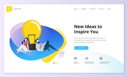 Website template design. Modern vector illustration concept of web page design for website and mobile website development. Easy to edit and customize. Çizim