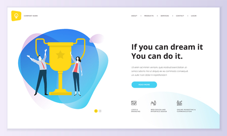 Website template design. Modern vector illustration concept of web page design for website and mobile website development. Easy to edit and customize. Фото со стока - 98760727