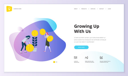 Website template design. Modern vector illustration concept of web page design for website and mobile website development. Easy to edit and customize.  イラスト・ベクター素材