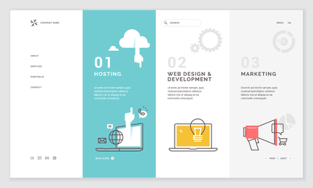 Effective website template design. Modern flat design vector illustration concept of web page design for website and mobile website development. Easy to edit and customize. Иллюстрация