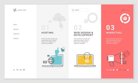 Effective website template design. Modern flat design vector illustration concept of web page design for website and mobile website development. Easy to edit and customize. Иллюстрация