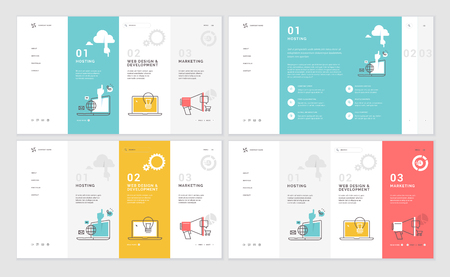 Set of website template designs. Modern vector illustration concepts of web page design for website and mobile website development. Easy to edit and customize. Иллюстрация