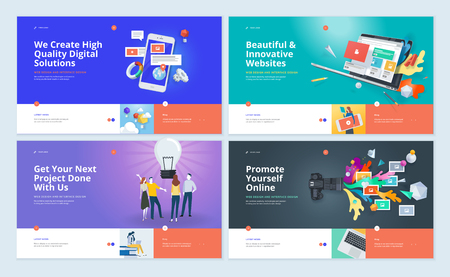 Set of website template designs. Modern vector illustration concepts of web page design for website and mobile website development. Easy to edit and customize.  イラスト・ベクター素材