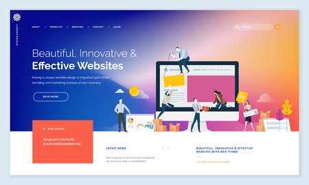 Effective website template design with people elements