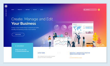 Business website template design with people elements