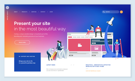 Blue website template design with people elements 向量圖像