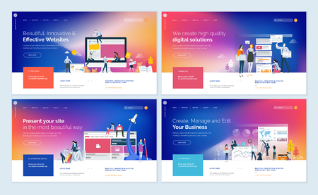 Set of website template designs with people elements