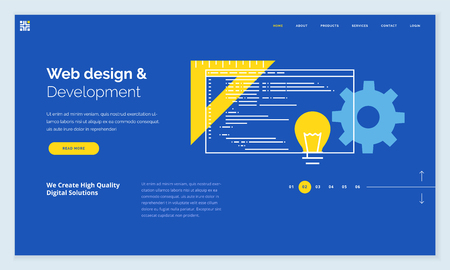 Website template design. Modern flat line vector illustration concept of web page design for website and mobile website development. Easy to edit and customize. Иллюстрация