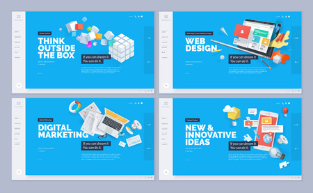 Set of website template designs. Modern vector illustration concepts of web page design for website and mobile website development. Vettoriali