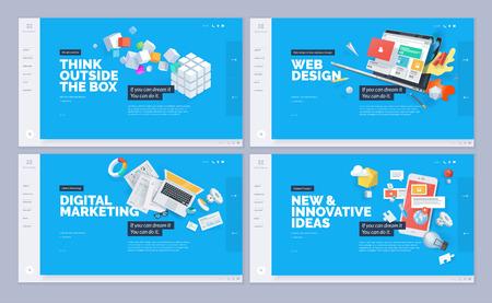 Web サイト テンプレートデザインのセット。ウェブサイトやモバイルWebサイト開発のためのウェブページデザインの最新のベクターイラストコンセプ