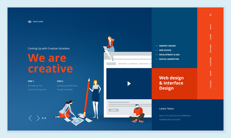 Creative website template design. Vector illustration concept of web page design for website and mobile website development. Easy to edit and customize. Иллюстрация