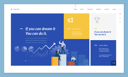Business website template design. Vector illustration concept of web page design for website and mobile website development. Easy to edit and customize.