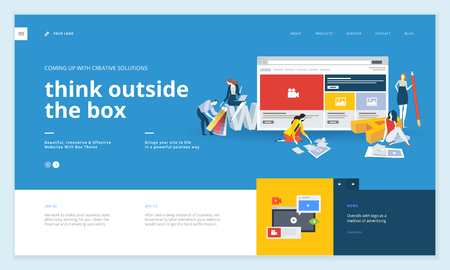 Creative website template design. Vector illustration concept of web page design for website and mobile website development. Easy to edit and customize. Çizim