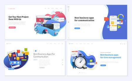Set of creative website template designs. Vector illustration Иллюстрация