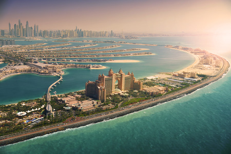 Palm Island at sunset, Dubai Stock Photo