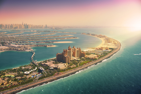 Palm Island in Dubai, aerial view 스톡 콘텐츠