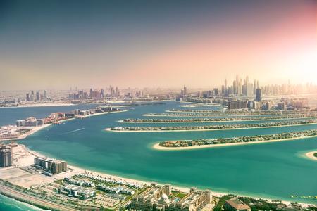 Dubai skyline from Palm Island, United Arab Emirates