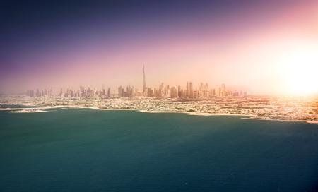 Dubai skyline at sunset, United Arab Emirates