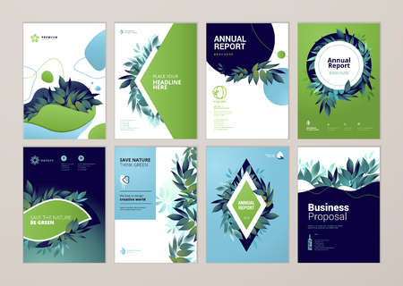 Set of brochure and annual report cover design templates on the subject of nature, environment and organic products. Vector illustrations for flyer layout, marketing material, magazines, presentations Çizim