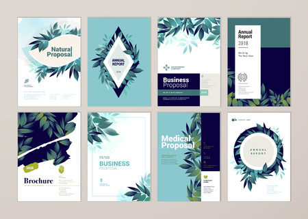 Set of brochure and annual report cover design templates on the subject of nature, environment and organic products. Vector illustrations for flyer layout, marketing material, magazines, presentations Vectores
