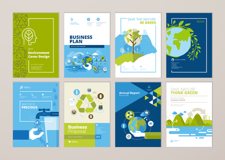 Set of brochure and annual report cover design templates of nature, green technology, renewable energy, sustainable development, environment. Vector illustrations for flyer layout, marketing material. Standard-Bild - 101985423