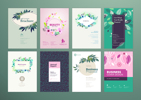 Set of natural product brochure, annual report, flyer design templates in A4 size. Vector illustrations for beauty, organic products and cosmetics presentation, document cover and layout template desi  イラスト・ベクター素材