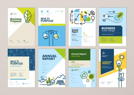 Set brochure en jaarverslag cover ontwerpsjablonen van natuur, groene technologie, hernieuwbare energie, duurzame ontwikkeling, milieu. Vectorillustraties voor flyer-indeling, marketingmateriaal. Vector Illustratie