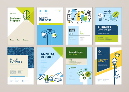 Set of brochure and annual report cover design templates of nature, green technology, renewable energy, sustainable development, environment. Vector illustrations for flyer layout, marketing material. Standard-Bild - 102009636