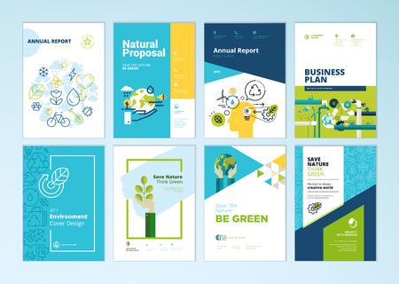 Zestaw broszur i raportów rocznych obejmuje szablony projektów dotyczące przyrody, zielonych technologii, energii odnawialnej, zrównoważonego rozwoju, środowiska. Ilustracje wektorowe do układu ulotki, materiały marketingowe.